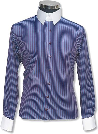 WhitePilotShirts Camisa de Hombre con Cuello de lengüeta y Rayas de 100% algodón con Cuello de Bucle y Mangas largas, puño único para Hombre 300-38 Multi Rayas #300-38 15: Amazon.es: Ropa y accesorios