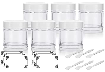 56fb517fdea6 Clear Glass Straight Sided Jar with White Smooth Lined Lids - 1 oz / 30 ml  (6 pack) + Spatulas and Labels