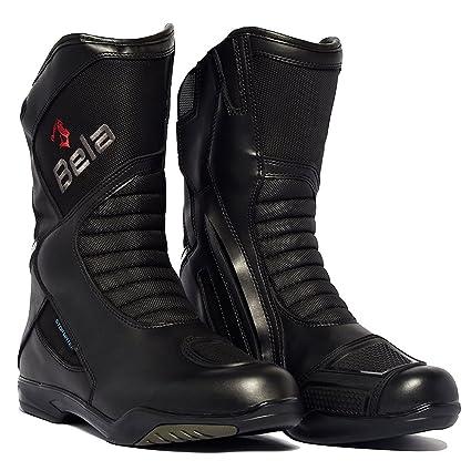 Botas Moto Bela Air Tech Botas de Cuero de Moto Impermeable Botas Touring Negro Botas de Moto 47 EU CE Aprobado