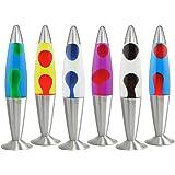 ASAB® Lava Lamp For Kids Bedroom Coloured Wax Liquid Retro Motion Relax Mood Light Vintage Silver Aluminium Base Reflector Bulb Novelty Gift - Black Lava Clear Liquid