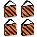 Neewer Set von vier schwarz/orange Robuste Sand Tasche Fotografie Studio Video Stage Film Sandsack Satteltasche für Lichtstative Boom Arme Stative