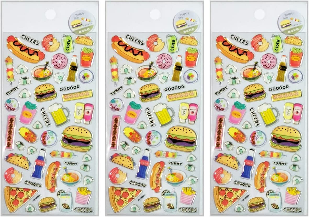 PARITA Stickers Gel Clings Strawberry Donut Hamburger French Fries Pizza food Cartoon Sticker for Scrapbooking Laptop Skateboard Car Graffiti Computer Keyboard DIY Design Decoration (Pack 3 PCS.) (15)