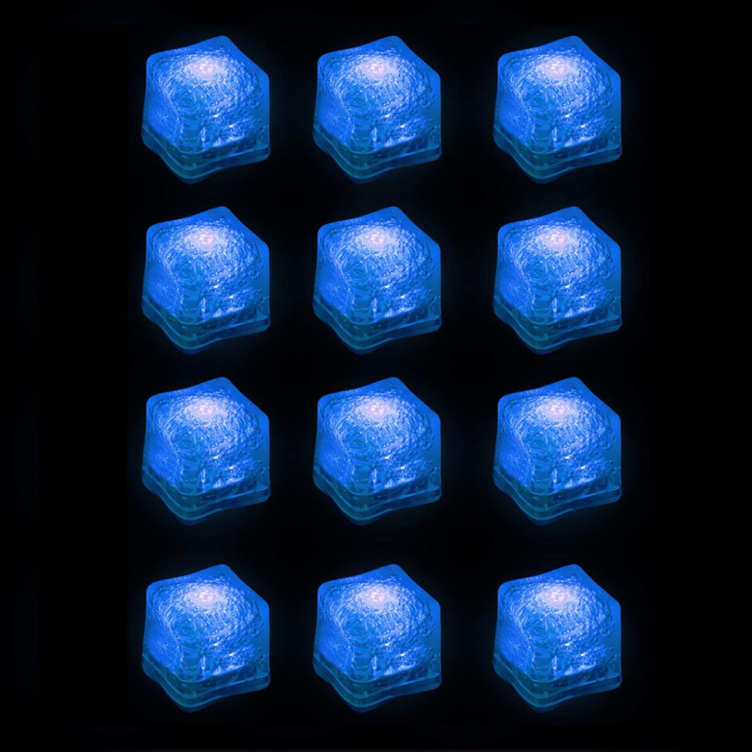 (12 Pack) Light-Up LED Ice Cubes with Changing Lights and On/Off Switch (Blue)
