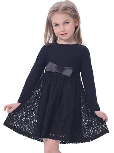 Bonny Billy Girls Casual Satin Lace Dress with Bow 3-4 Years Black
