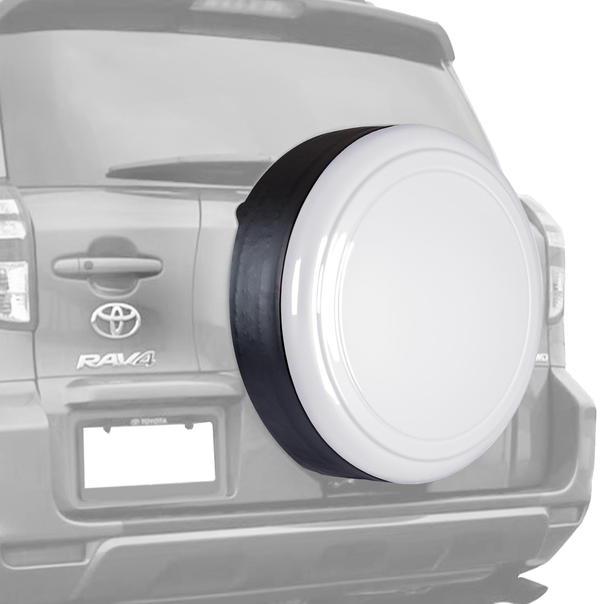 06-12 Toyota RAV4 - 28'' Color Matched Rigid Tire Cover (Plastic Face & Vinyl Band) - Super White by Boomerang (Image #1)