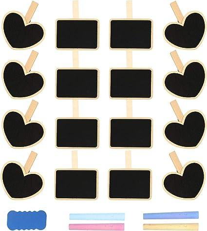 Matogle Mini Pizarras Decorativas 8 psc Etiqueta de Pizarra de Madera Rectangular con 8 pcs Pizarras Pequeñas en Forma de Corazón para Decoración Boda Nombre Mensajes Pinza Clip de Pizarra Negra: Amazon.es:
