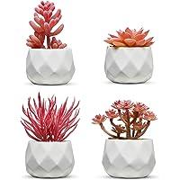 Set of 4 Desk Plants - Office Decor for Women Desk, Indoor, Living Room, Bedroom, Home and Desk Decor – Pink Faux…
