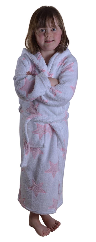 Ages 3-10 White//Pink Dannii Matthews Sparkly Childrens Kids Girls Star Print Fleece Wrapover Robe with Hood