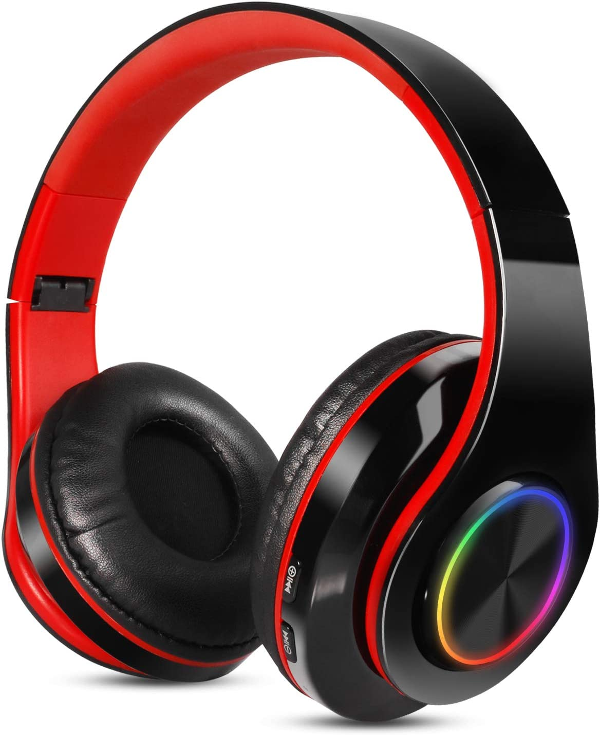 Sendowtek Auriculares sem Fios Diadema con micrófono Auriculares Bluetooth sem Fios Auriculares estéreo de Alta fidelidad con reducción de Ruido, adecuados para iPhone, Android, iPad, PC (Negro Rojo)