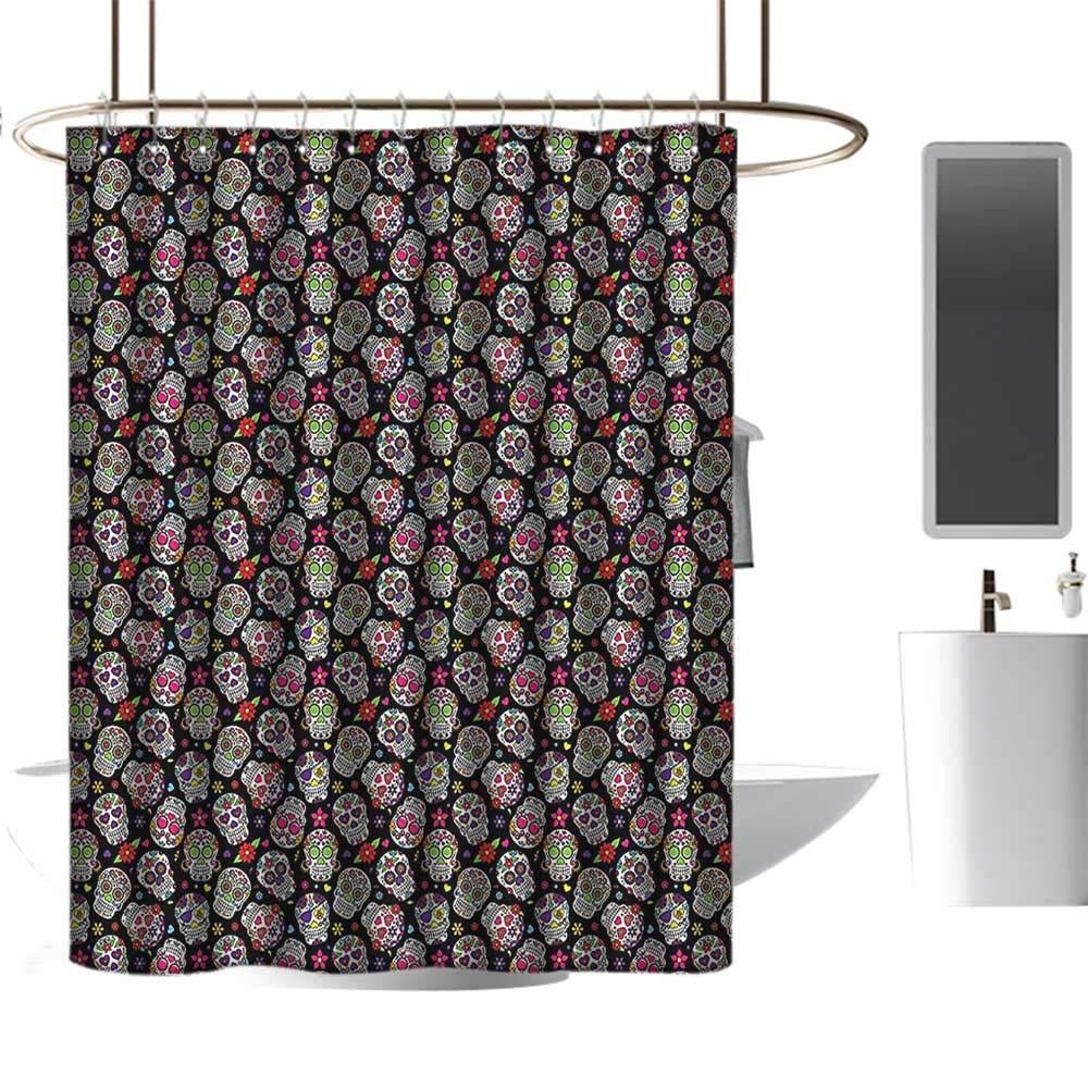 Black Background Colorful Sugar Skull Floral Shower Curtain Set Bathroom Decor