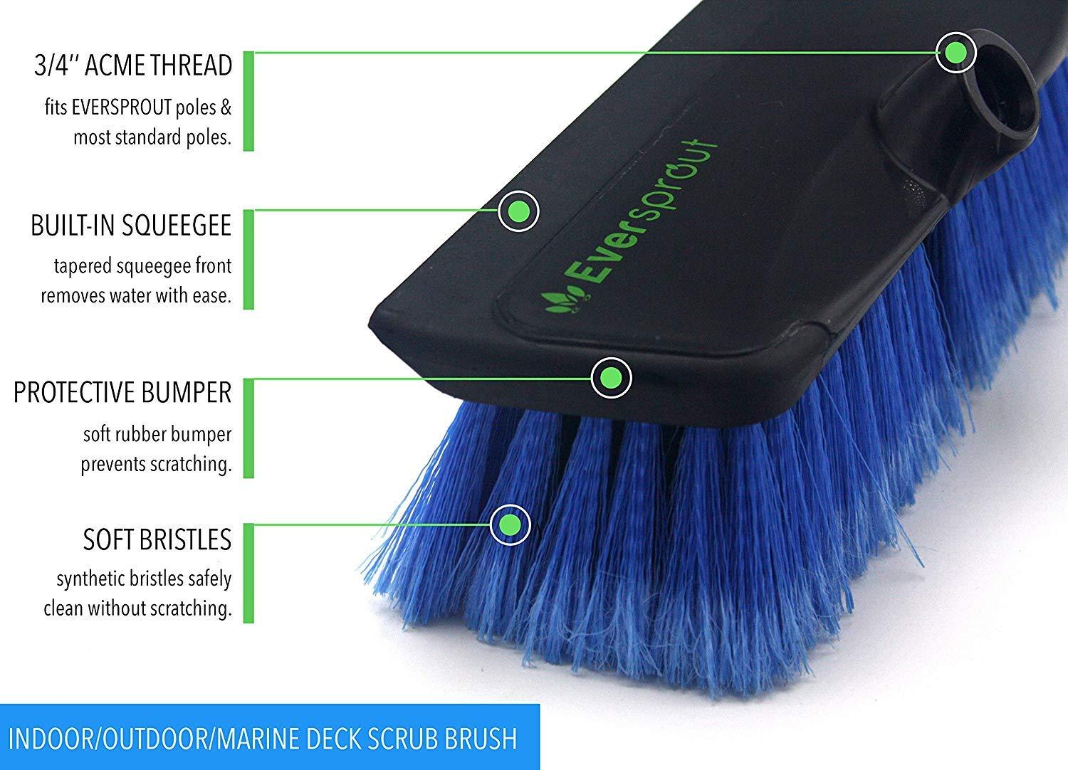 EVERSPROUT 5-to-12 Foot Scrub Brush (20 Foot Reach) | Built-in Rubber Bumper | Lightweight Extension Pole Handle | Soft Bristles to Wash Car, RV, Boat, Deck, Floor | Bumper Prevents Scratch by EVERSPROUT (Image #5)