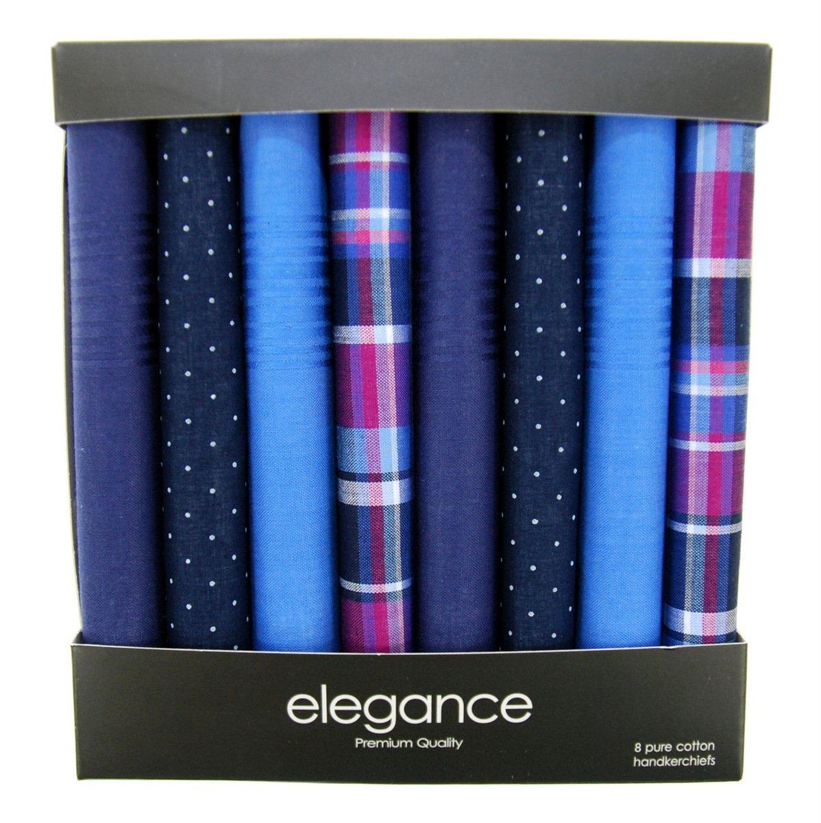 Retreez 8 Piece Pure Cotton Assorted Men's Handkerchiefs Hanky Gift Box Set - Assorted Set A5A001