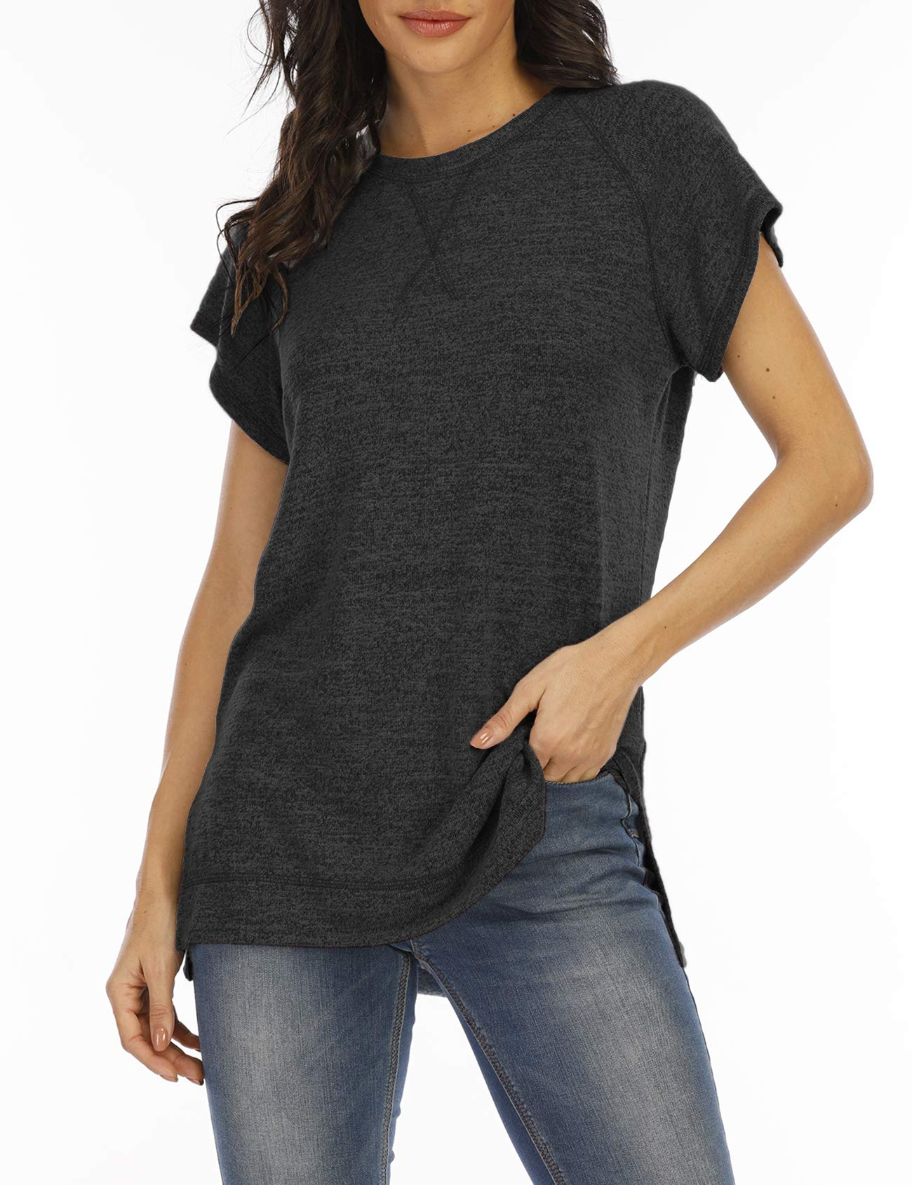 LERUCCI Womens Round Neck Short Sleeve T-Shirt Casual Tunic Tops with Side