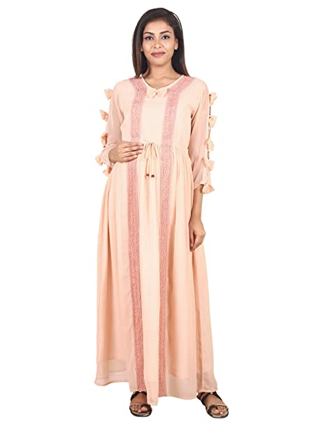 98a3bfcbcaa 9teenAGAIN Women s Plain Woven Maternity Dress (Peach)  Amazon.in ...