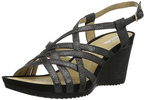 Black 38 y de para Ee es mujer B Roxy Zapatos Sandalias cuero complementos Noir de D negro Geox New Amazon vestir OWBHzZ0