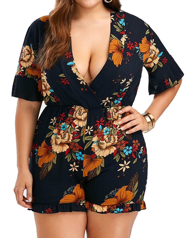 bfa30466e8b0 Amazon.com  Women s Plus Size High Waist Shorts Rompers Floral Print V Neck  Beach Party Jumpsuit  Clothing