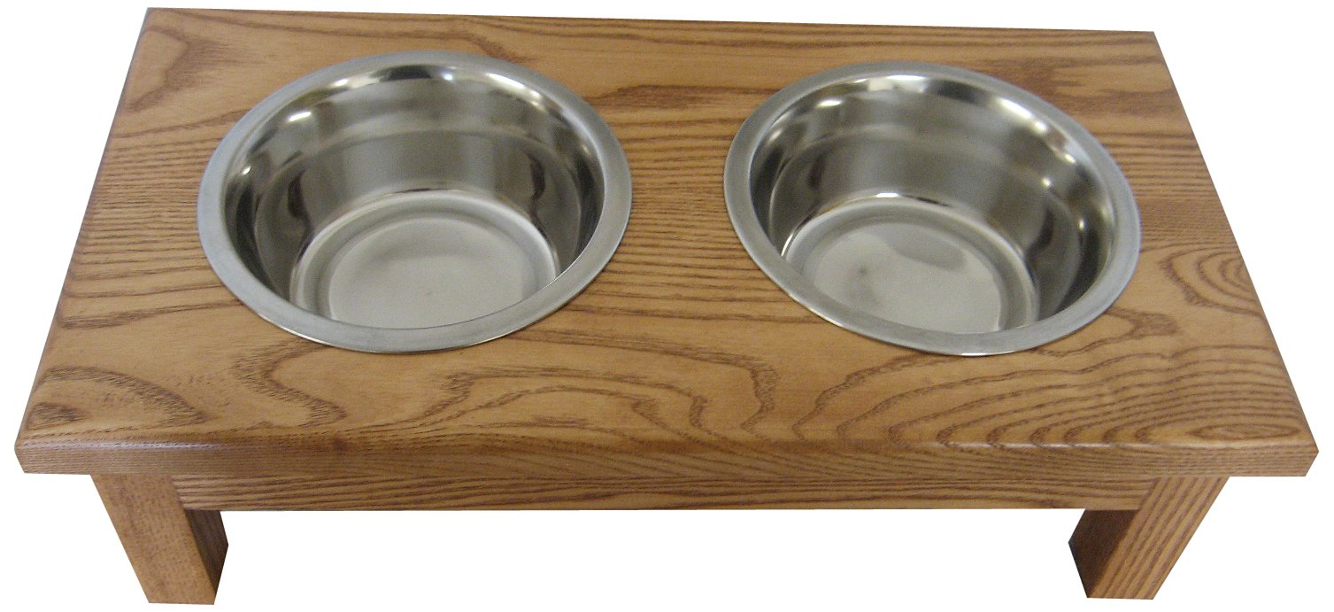 Classic Pet Beds 2-Bowl Traditional Style Ash Pet Diner, Small, Cherry