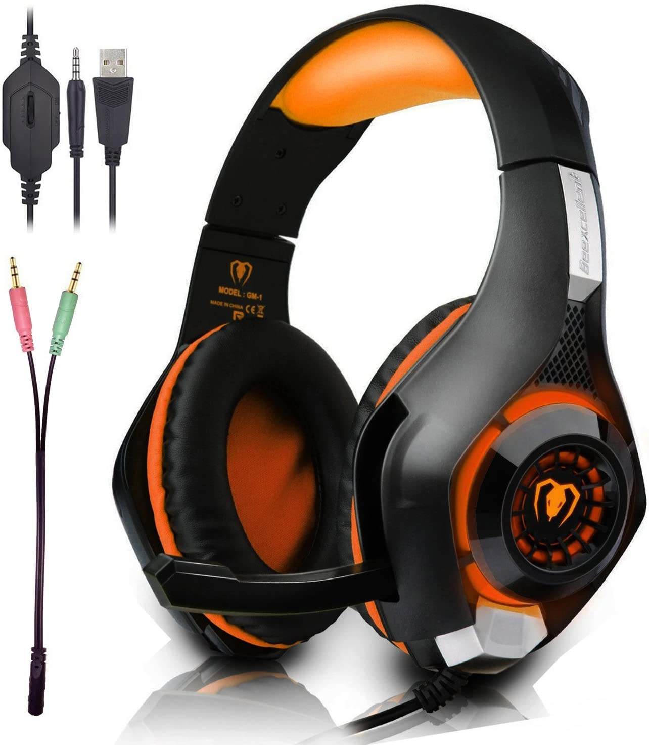 Beexcellent Gaming Headset with Microphone for New Xbox PS4 PC Smart phone Laptops- Surround Sound, Noise Reduction Game Earphone – Easy Volume Control with LED Lighting 3.5MM Jack Orange