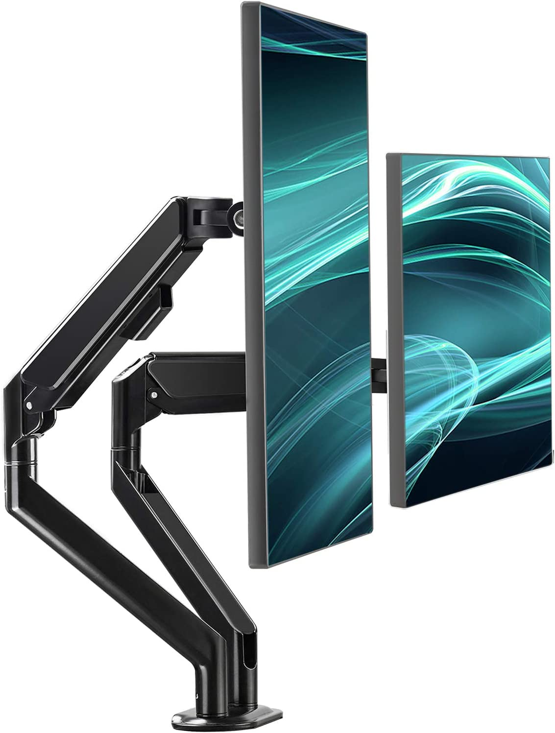 EleTab Dual Arm Monitor Stand - Height Adjustable Desk Monitor Mount Fits for Computer Screens 17 to 32 inches - Each Arm Holds up to 19.8 lbs, Black