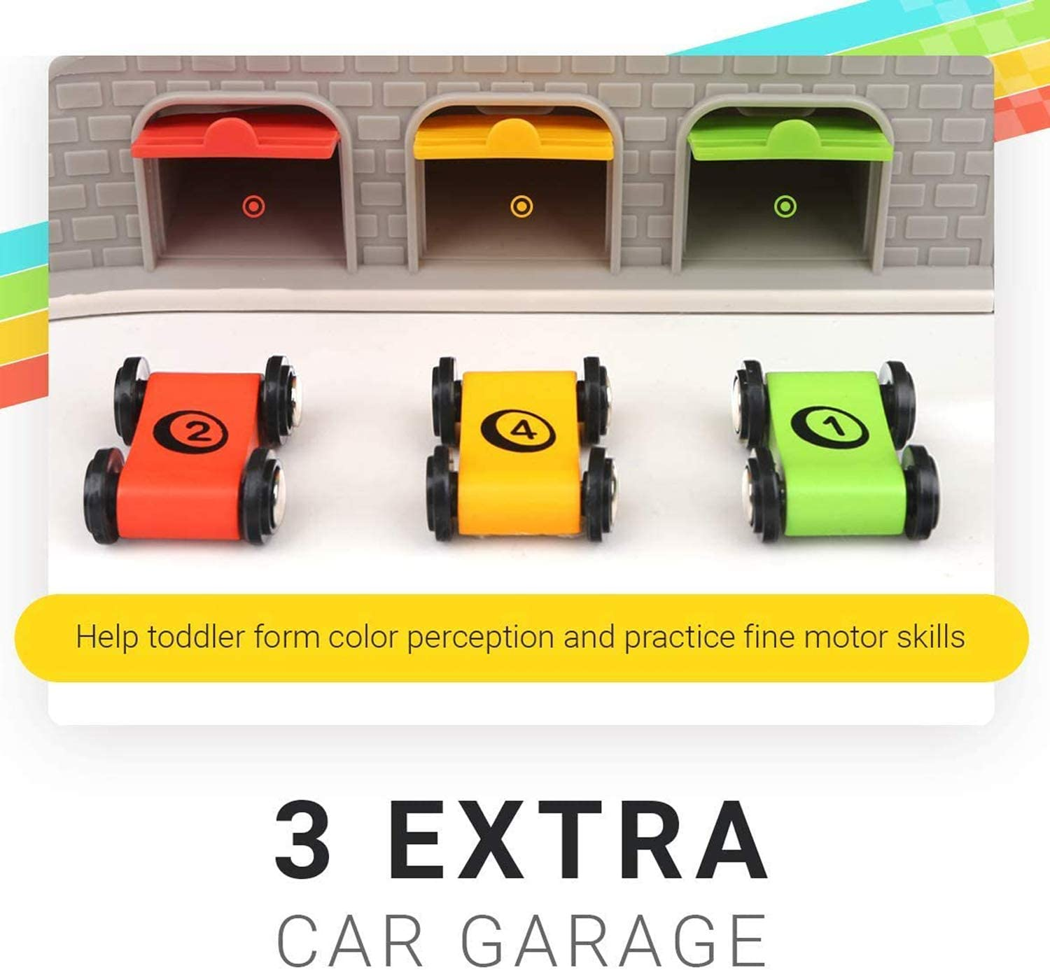 Garage Colourful and Fun Wood Educational Race Car Track Parking Lot TOP BRIGHT Toddler Car Track with 4 Mini Cars Toy Car for 1 2 Year Old Gas Station
