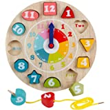 Wooden Shape Sorting Teaching Clocks Educational Lacing Beads Toys for Preschool Age Kids Toddlers