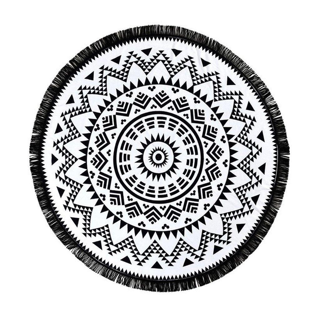Round Tapestry Beach Throw Blanket Roundie Mandala Beach Towel Yoga Mat BCDshop Bohemian Wall Tapestry-59.1''X59.1'' (Black) by BCDshop_Blanket Clearance