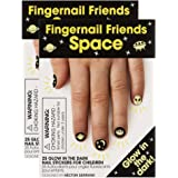 Fingernail Friends Colorful Nail Stickers Nail Art for Children, Glow in The Dark Space (50 Stickers)