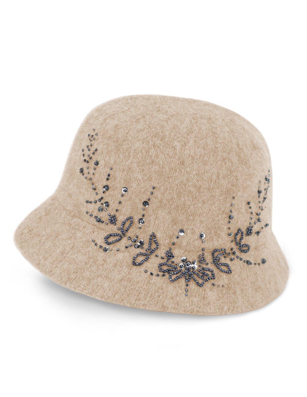 Dahlia Women's Wool Blend Hand Beaded Winter Bucket Hat/Cloche Hat - Tan
