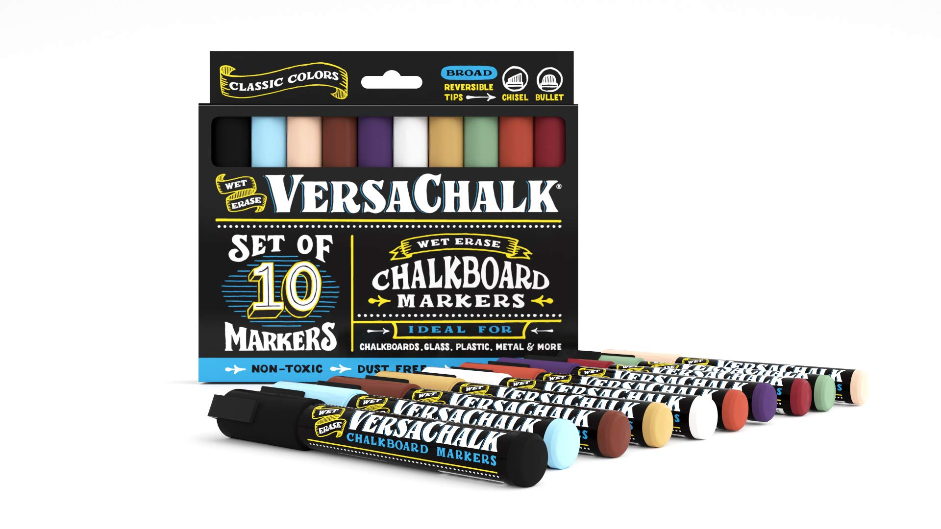 Chalkboard Chalk Markers by VersaChalk - Classic Colors (10-Pack)   Dust Free, Water-Based, Non-Toxic   Wet Erase Chalk Ink Pens by VersaChalk (Image #2)