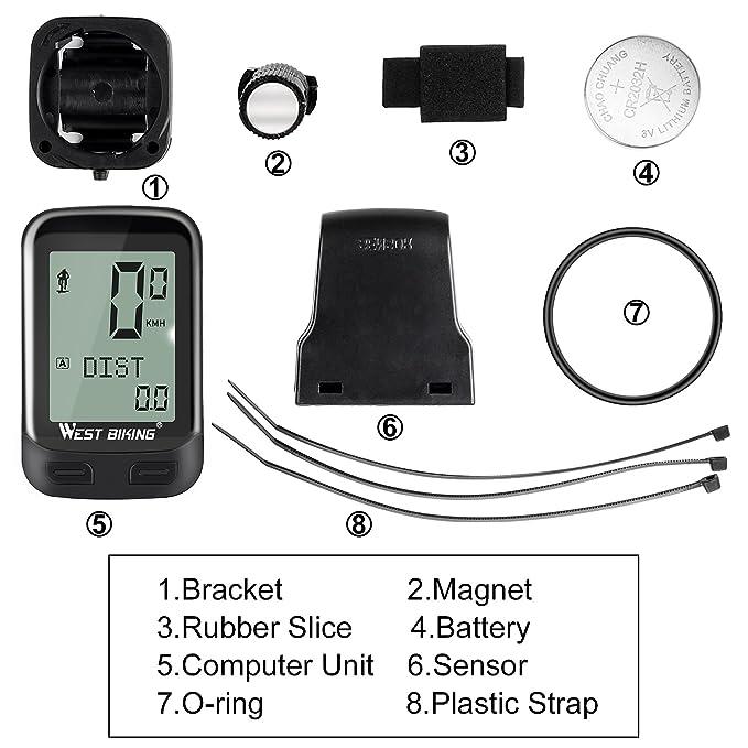 ICOCOPRO Ordenador de Bicicleta 5 Idiomas Disponible Inalámbrico Impermeable Bicicleta Velocímetro y Odometro con Sensor De Cadencia Despertador Automático ...