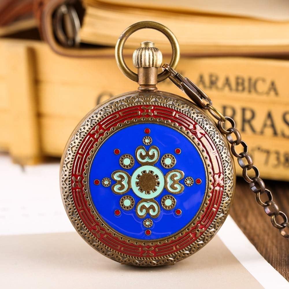 SDVIB Montre de Poche Rétro de cuivre Montre de Poche mécanique Tourbillon de Phases de Lune Soleil Main à remonter Vintage Collectibles Horloges Blue
