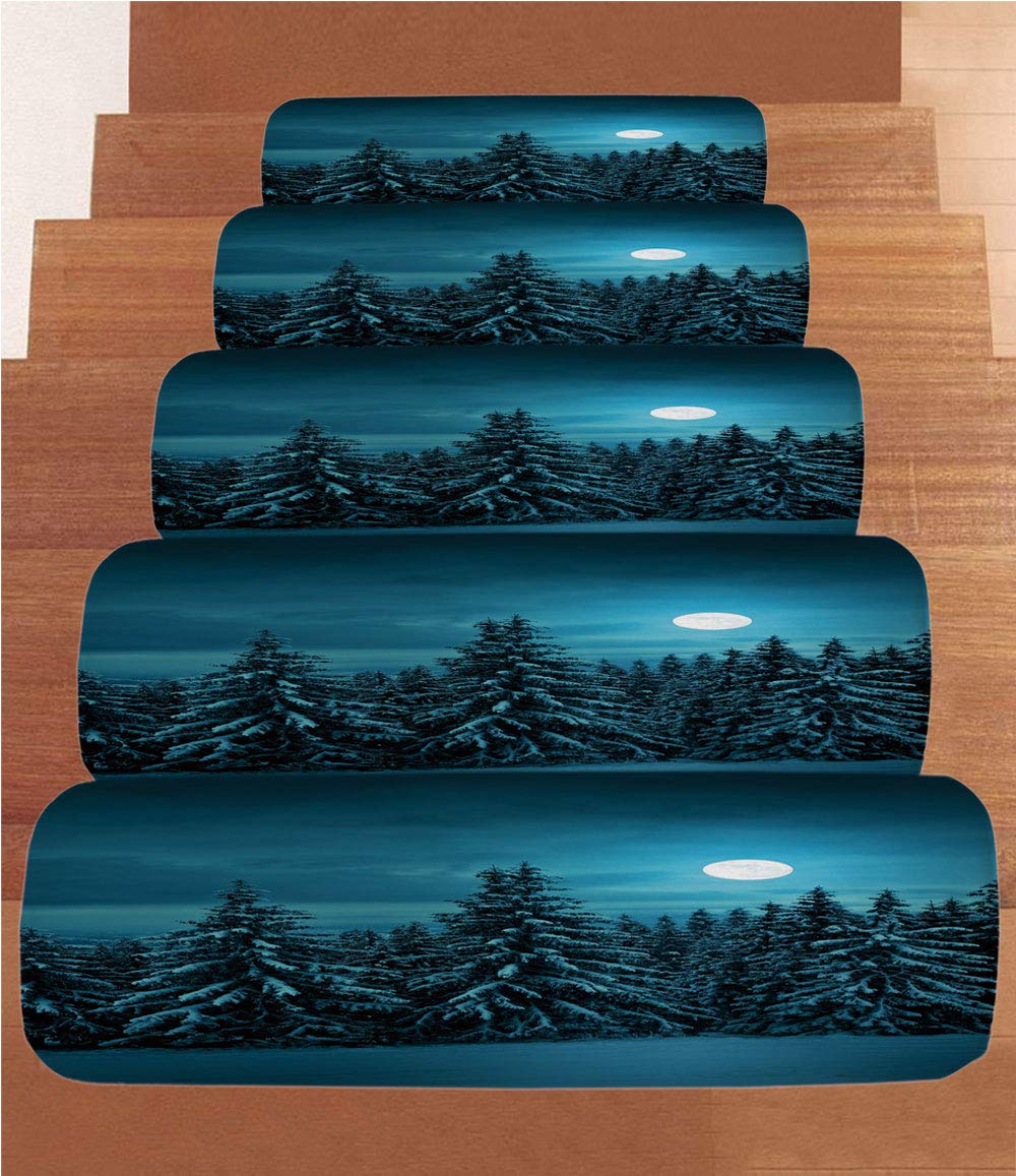 iPrint Non-Slip Carpets Stair Treads,Night,Tranquil Blue Night with Moon in Woods Covered with Snow Serene Winter View,Turquoise Teal White,(Set of 5) 8.6''x27.5''