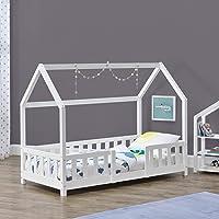 Cama para niños de Madera Pino 70 x 140 cm Cama Infantil con Reja Protectora Forma de casa Casita Blanco Mate Lacado