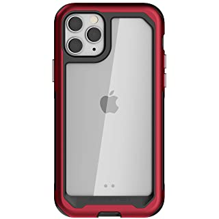 Ghostek Atomic Slim iPhone 11 Pro Case Clear Metal Phone Cover Heavy-Duty Protection Military Grade Protective Armor and Wireless Charging Compatible for 2019 Apple iPhone 11 Pro (5.8 Inch) - (Red)
