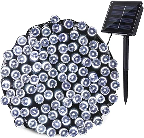 Qedertek Outdoor Solar String Lights, 72ft 200 LED Cool White Fairy Decorative Christmas Lights Seasonal Lighting for Indoor, Home, Garden, Porch, Patio, Party and Holiday Decoration, Waterproof