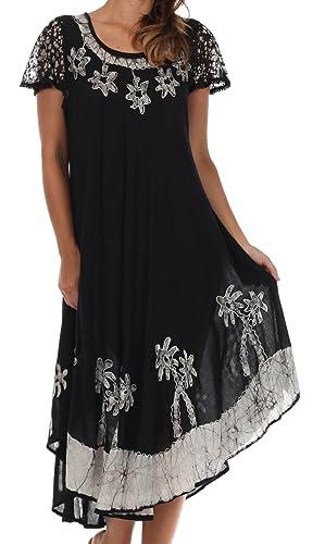 Sakkas Batik Palm Tree Cap Sleeve Caftan Dress / Cover Up