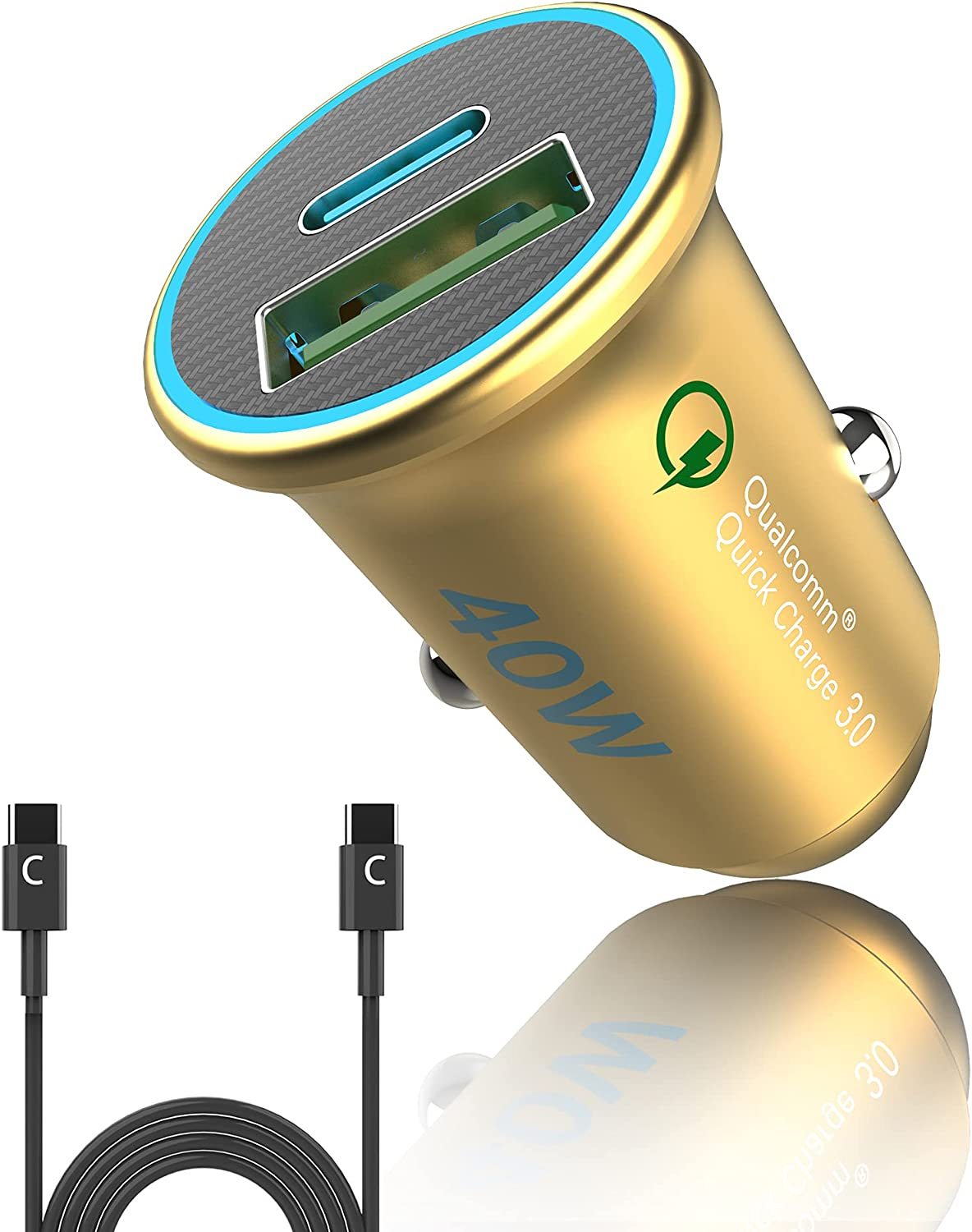 USB C Car Charger 40W Fast Car Cigarette Lighter Adapter PD&QC 3.0 Dual Port Mini All Metal Compatible with iPhone 12/12 Pro/Max/12 Mini/iPhone 11/Pro/Max/XR/XS/Max/8, Galaxy S21/20/10/9