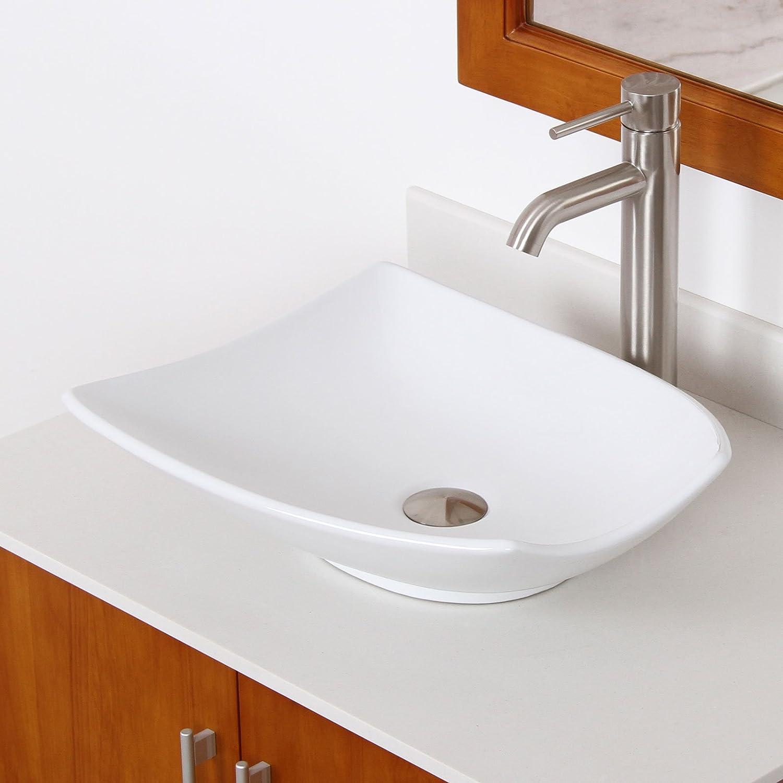 Best Elite Bathroom Shell Shape White Ceramic Porcelain Vessel Sink Brushed Nickel Faucet