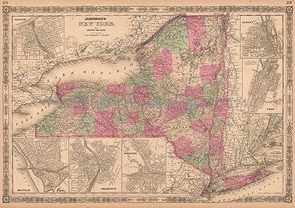 New York State Antique Map AJ Johnson 1864 Original NY Decor ...