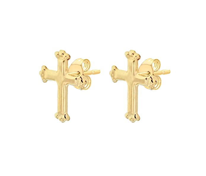 9ct Gold Ladies Cross Stud Earrings - 11mm*7mm 6DhEFTpH