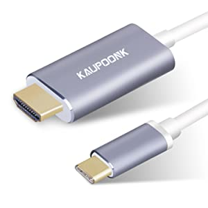 KAUPOONK USB C to HDMI Cable, USB Type C to HDMI Adapter Compatible with Samsung Galaxy S8 S9 S10 S10+ Note8 MacBook iMac Chromebook Media with 4k@30Hz,Thunderbolt 3 Dual Displays Support -Gray