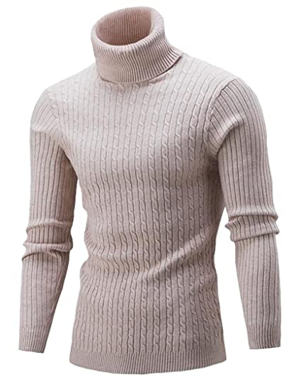 Ld Mens Classic Turtle Neck Long Sleeve Solid Knit Basic Pullover