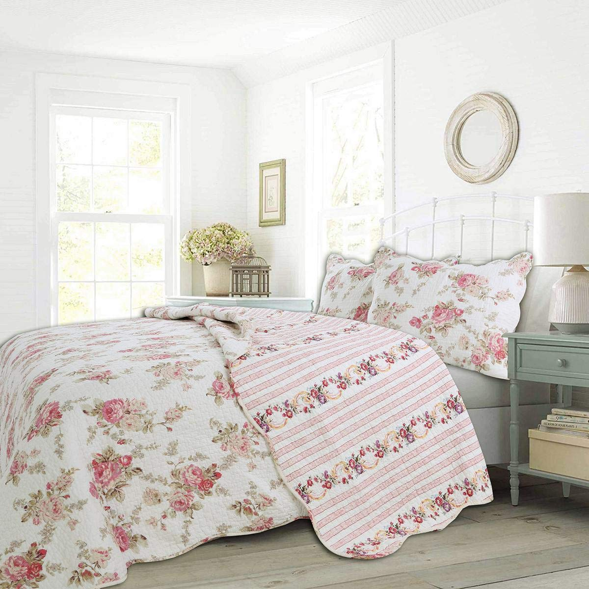 Cozy Line Home Fashions Floral Peony Romantic Pink Ivory Flower Printed 100% Cotton Reversible Coverlet Bedspread Quilt Bedding Set for Women Girl (Pink,Queen - 3 Piece) by Cozy Line Home Fashions