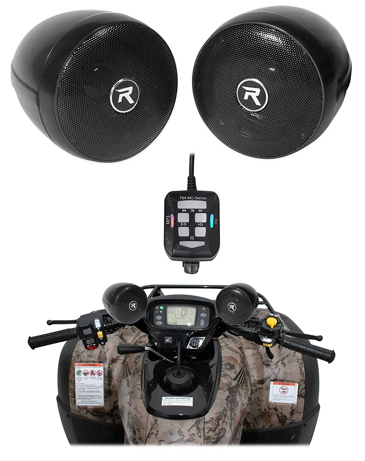 Rockville Bluetooth ATV Audio System w//Handlebar Speakers For Can-Am Renegade