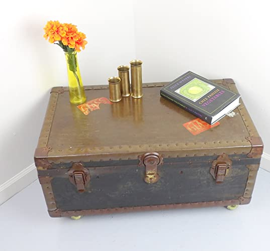 Coffee Table Trunk Military Army Footlocker Antique