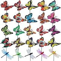 JaneYi 30 piezas Estaca de Libélula Mariposa de Jardín 25 cm Adorno de Mariposa Colorida 20 piezas Mariposas y 10 piezas…