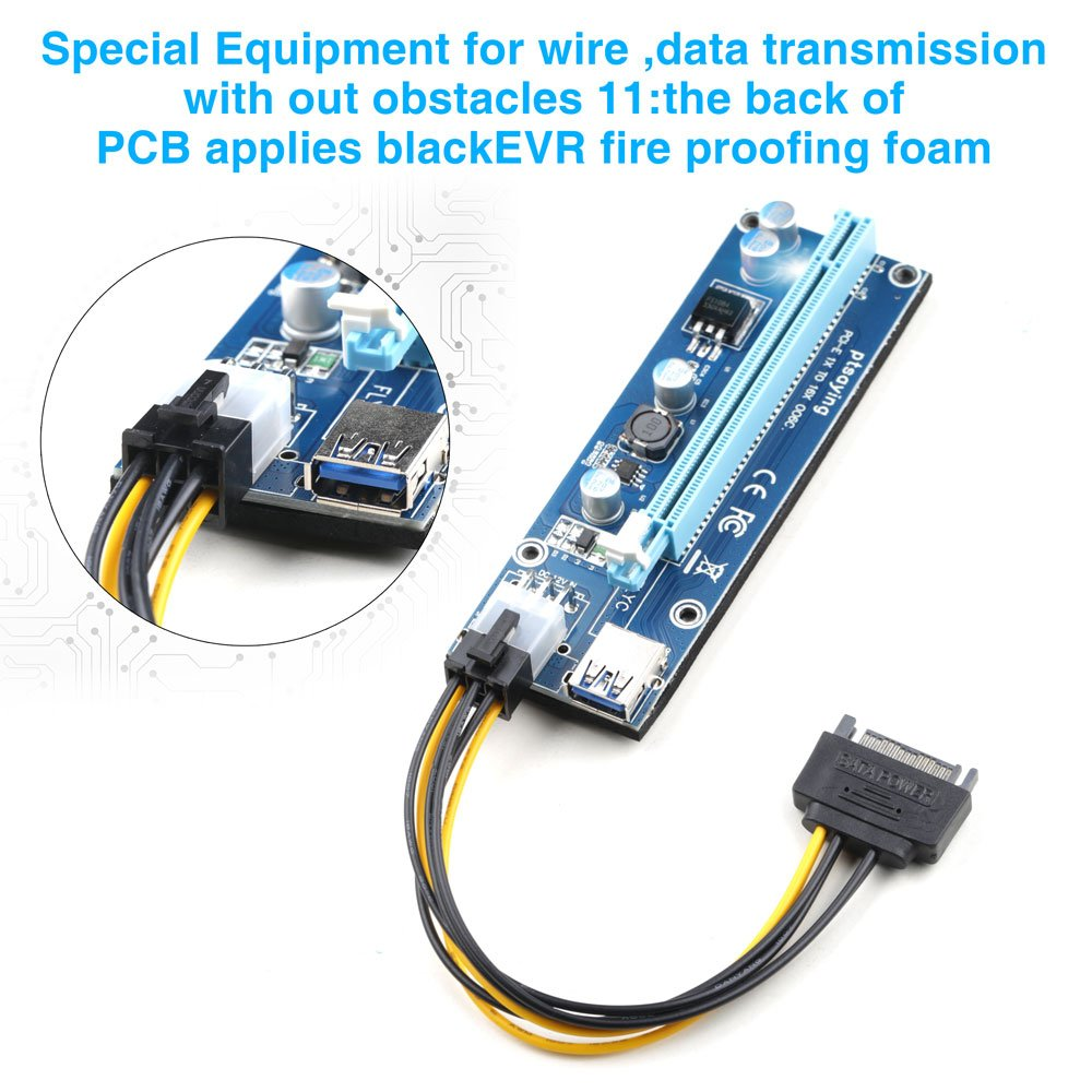 PCIe Riser Ptsaying PCI-E 16x 8x 4x 1x Powered Riser Adapter Card With LED hint w/ 60cm USB 3.0 Extension Cable & 6-Pin PCI-E to SATA Power Cable - GPU Riser Adapter - Ethereum Mining ETH(3 pack) by Ptsaying (Image #4)