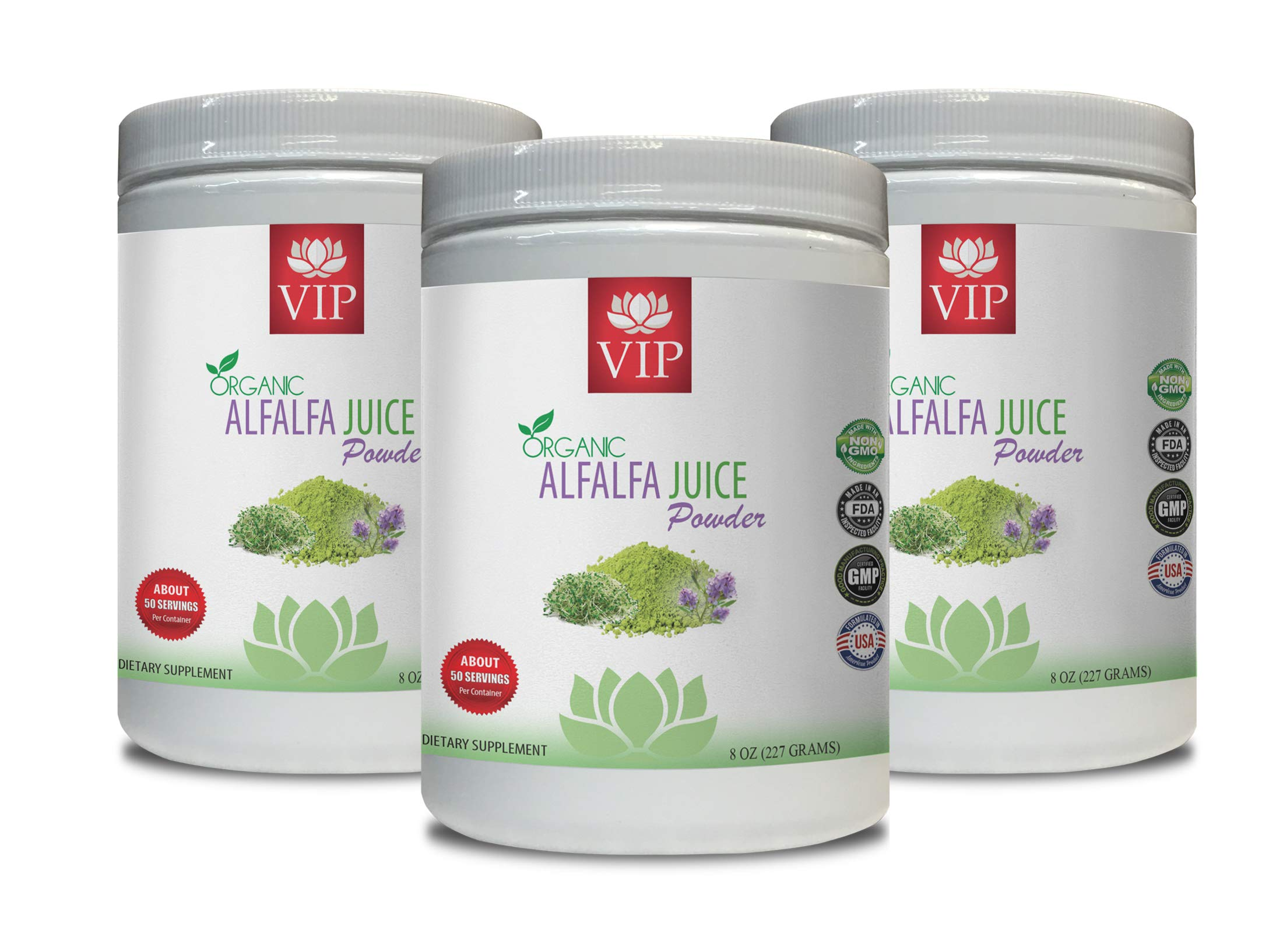 Immune System for Women - Alfalfa Organic Juice Powder - Alfalfa superfood - 3 Cans 24 OZ (150 Servings)