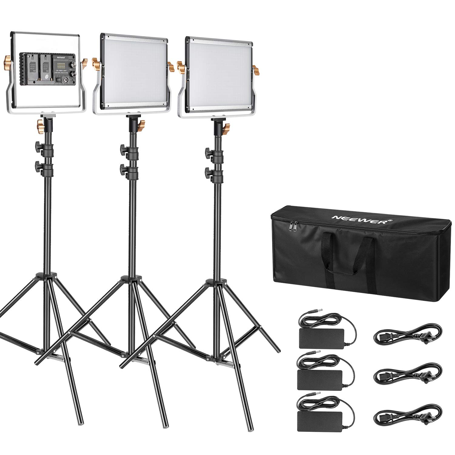 Neewer 3 Packs Dimmable Bi-Color 480 LED Video Light and Stand Lighting Kit:3200-5600K CRI 96+ LED Panel, Premium 200cm Light Stand and Large Carry Bag for Studio YouTube Video Outdoor Photography by Neewer