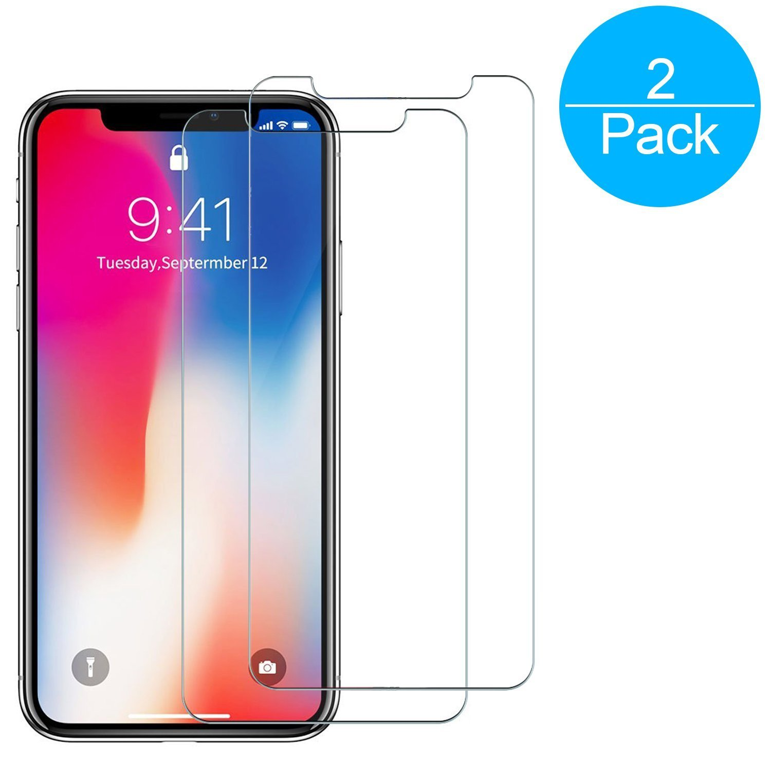Amazon iPhone X Screen Protector BONGEEK [2 Pack][Case Friendly] Premium Tempered Glass Screen Protector for Apple iPhone X iPhone 10 Clear HD